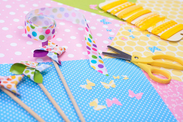 Closeup of colorful accessories for craft
