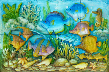 Thailand sandstone craft of marine fish