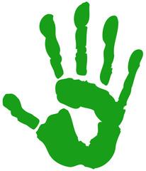 Handabdruck grün Bio