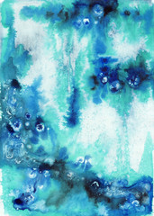 Abstract blue wet watercolor background