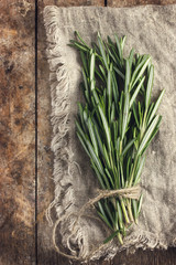 rosemary bunch on a rustic background