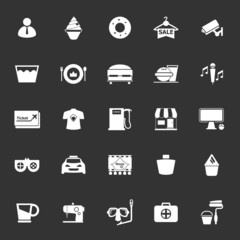 Franchisee business icons on gray background