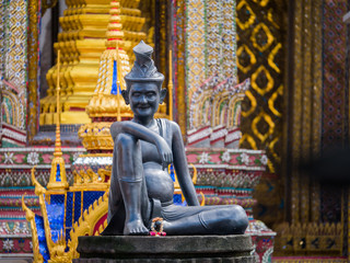 statue of hermit located in front of temple, wat phra keaw, Bang