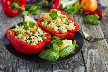 Stuffed peppers with bulgur and vegetables