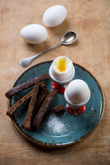 Boiled eggs in egg cups with toasts, studio shot