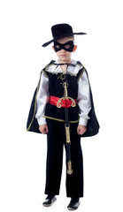 Cute little boy posing in Zorro costume
