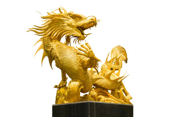 Golden Chinese dragon statue on isolate background