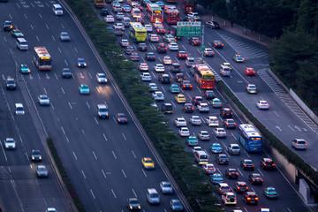 Congested city roads, Guangzhou, China