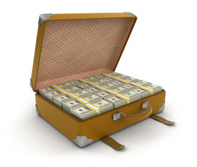 Suitcase with Dollars (clipping path included)