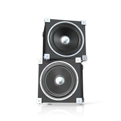 Pair of sound speakers. 3D render illustration isolated on white