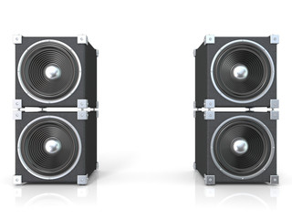 Two pairs of sound speakers. 3D render illustration isolated