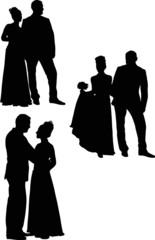 three black wedding couples isolated on white