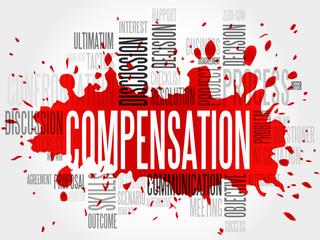 Compensation word cloud, business concept