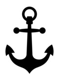 Simple black ships anchor silhouette