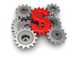 Cogwheel dollar (clipping path included)