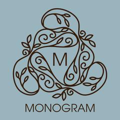 Monogram design. Vector floral outline frame or borde