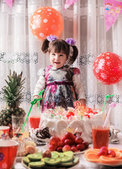 happy child girl on birthday party