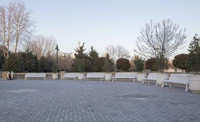 Iron bench on the Boulevard in Baku