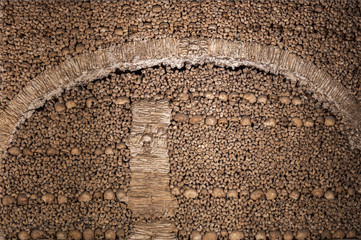 The wall made of human bones and skulls