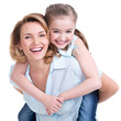 Closeup portrait of happy mother and young daughter - 80956826