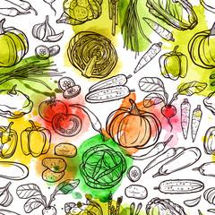 Watercolor Vegetable Pattern