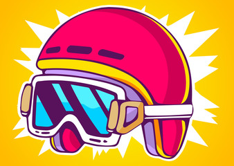 Vector illustration of red fashion helmet on yellow background.
