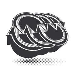 Arrows abstract symbol, vector conceptual pictogram template, ve