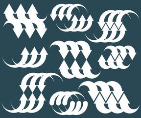 Arrows abstract conceptual symbol template collection, single co