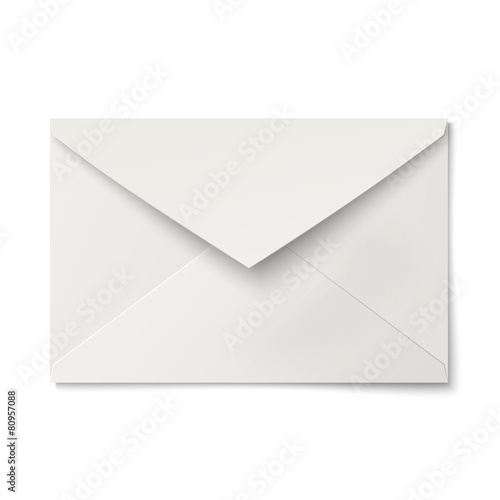 Slightly, ajar opened white envelope isolated - 80957088
