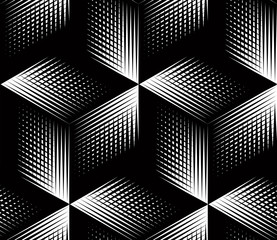 Graphic seamless abstract pattern, regular geometric black and w