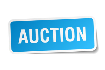auction blue square sticker isolated on white