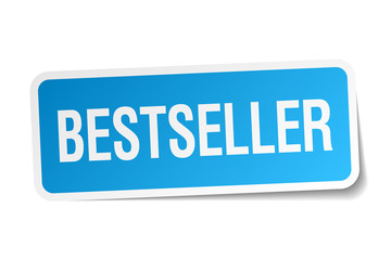 bestseller blue square sticker isolated on white