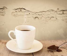 Black  Coffee in White Cup on the Old Wall,