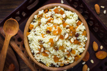 Couscous with dried fruits and nuts