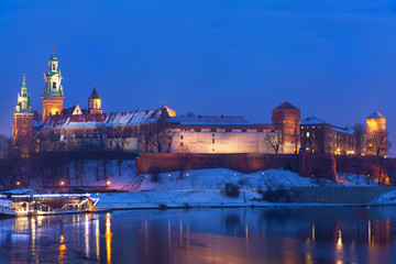 Wawel castle in night illumination in the winter. Krakow, Poland