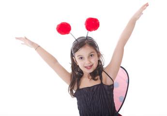 bambina vestita da coccinella
