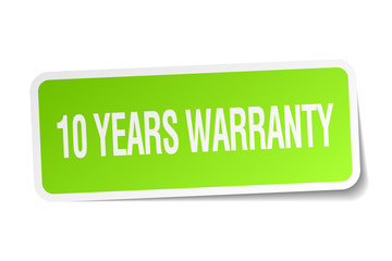10 years warranty green square sticker on white background