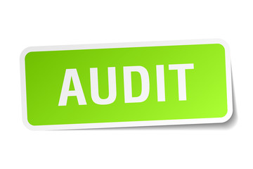 audit green square sticker on white background