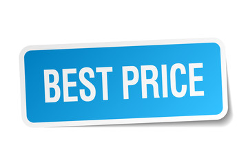 best price blue square sticker isolated on white