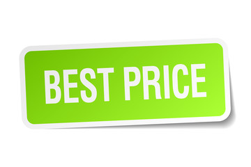 best price green square sticker on white background