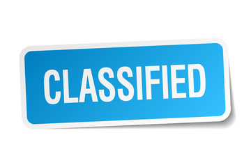 classified blue square sticker isolated on white