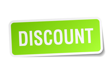 discount green square sticker on white background