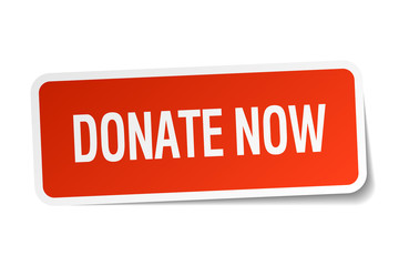 donate now red square sticker isolated on white