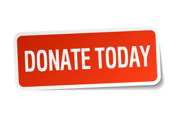 donate today red square sticker isolated on white