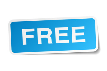 free blue square sticker isolated on white