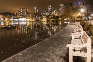 Stavanger City Lake at Night