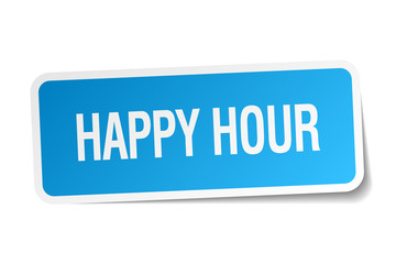 happy hour blue square sticker isolated on white