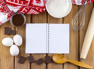 Blank white notebook with food ingredients