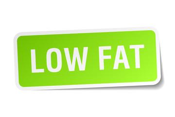 low fat green square sticker on white background