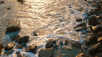 Sea Waves Washing Rocky Coastline